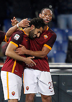 Calcio, Serie A:  Roma vs Palermo. Roma, stadio Olimpico, 21 febbraio 2016. <br /> Roma's Mohamed Salah, left celebrates with teammate Seydou Keita after scoring during the Italian Serie A football match between Roma and Palermo at Rome's Olympic stadium, 21 February 2016.<br /> UPDATE IMAGES PRESS/Riccardo De Luca