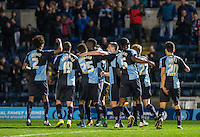 Wycombe players come together to celebrate the 2nd goal during the Sky Bet League 2 match between Wycombe Wanderers and Crawley Town at Adams Park, High Wycombe, England on 28 December 2015. Photo by Andy Rowland / PRiME Media Images