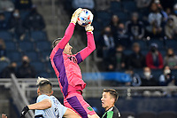 KANSAS CITY, KS - MAY 9: Brad Stuver #41 Austin FC catches the ball during a game between Austin FC and Sporting Kansas City at Children's Mercy Park on May 9, 2021 in Kansas City, Kansas.