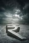 Illustrative image of stormy clouds over rupee sign representing recession