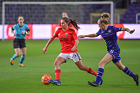 Benfica's midfielder Andreia Faria (6) and Anderlecht forward Sarah Wijnants (11) pictured during a female soccer game between RSC Anderlecht Dames and Portugese Benfica Ladies  in the second qualifying round for the Uefa Womens Champions League of the 2020 - 2021 season , Wednesday 18 th of November 2020  in ANDERLECHT , Belgium . PHOTO SPORTPIX.BE | SPP | STIJN AUDOOREN