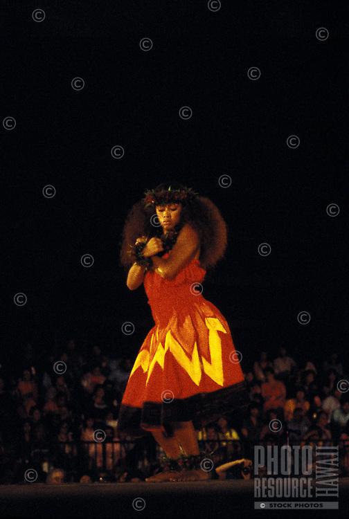 Kahiko (ancient) hula at the Merrie Monarch Festival, Hilo, Big Island of Hawaii