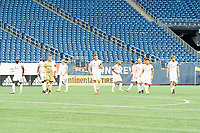 FOXBOROUGH, MA - SEPTEMBER 04: Forward Madison starting eleven on the field during a game between Forward Madison FC and New England Revolution II at Gillette Stadium on September 04, 2020 in Foxborough, Massachusetts.