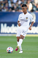 CARSON, CA - JUNE 19: Efrain Alvarez #26 of the Los Angeles Galaxy passes off the ball during a game between Seattle Sounders FC and Los Angeles Galaxy at Dignity Health Sports Park on June 19, 2021 in Carson, California.
