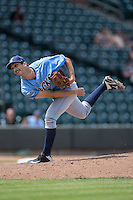 Wilmington Blue Rocks relief pitcher Derek Gordon (31) follows through on his delivery against the Winston-Salem Dash at BB&T Ballpark on June 5, 2016 in Winston-Salem, North Carolina.  The Dash defeated the Blue Rocks 4-0.  (Brian Westerholt/Four Seam Images)
