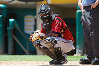 Robinzon Diaz (23) of the Nashville Sounds during the game against the Salt Lake Bees in Pacific Coast League action at Smith's Ballpark on June 22, 2014 in Salt Lake City, Utah.  (Stephen Smith/Four Seam Images)
