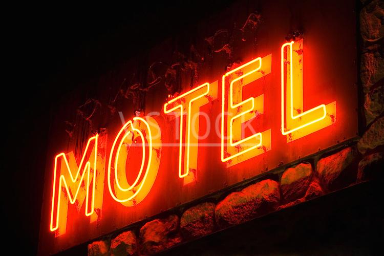 horizontal motel sign lodging city urban travel traveling travelling tourism vacation night nightime neon