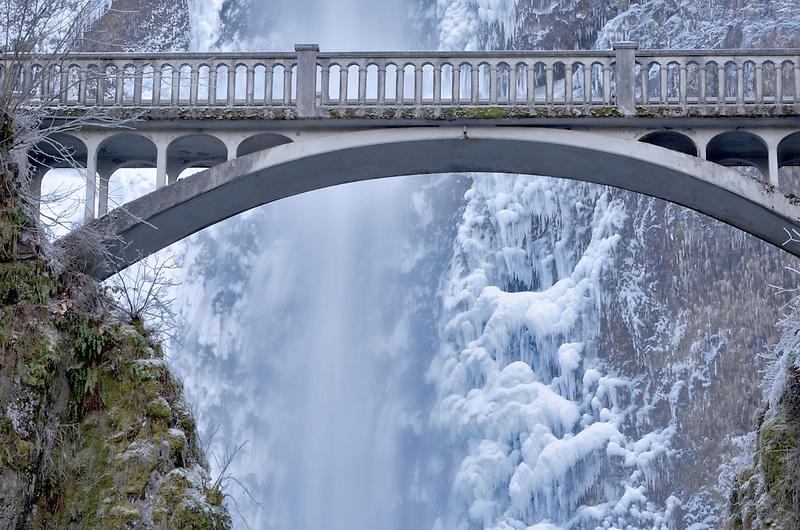 Multnomah Falls with ice. Oregon
