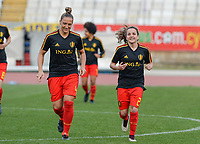 20180305 - LARNACA , CYPRUS :  Belgian Maud Coutereels (left) and Davina Philtjens (r) pictured during warming up before a women's soccer game between  the Belgian Red Flames  and Austria , on Monday 5 March 2018 at the GSZ Stadium in Larnaca , Cyprus . This is the third game in group B for Belgium during the Cyprus Womens Cup , a prestigious women soccer tournament as a preparation on the World Cup 2019 qualification duels. PHOTO SPORTPIX.BE | DAVID CATRY