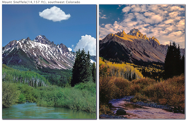 Explore to find good and different locations. Then return again and again. <br /> Mt Sneffels and stream, in summer and fall, Ridgeway, Colorado.