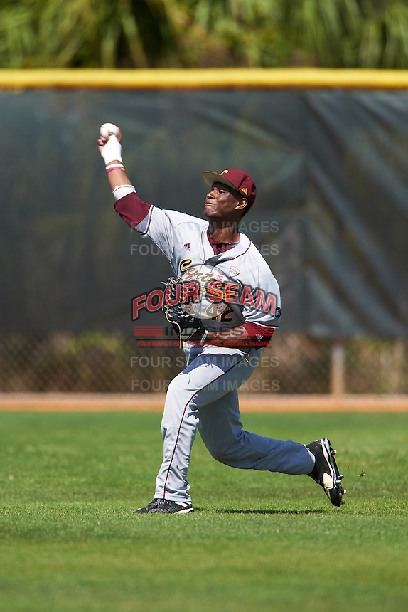 Central Michigan Chippewas outfielder Dazon Cole (42) during practice before a game against the Boston College Eagles on March 3, 2017 at North Charlotte Regional Park in Port Charlotte, Florida.  Boston College defeated Central Michigan 5-4.  (Mike Janes/Four Seam Images)