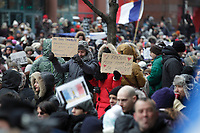French consul  in Montreal and Mayor Denis Coderre attend a silent march, January 11, 2015 after the Charlie Hebdo terrorist attack.<br /> <br /> photo : Agence Quebec Presse
