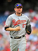 24 May 2009: Baltimore Orioles' first baseman Aubrey Huff trots back to the the dugout during a game against the Washington Nationals at Nationals Park in Washington, DC. The Nationals rallied to defeat the Orioles 8-5 and salvage a win in their interleague series. Mandatory Credit: Ed Wolfstein Photo