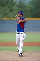 AZL Rangers starting pitcher Jean Casanova (65) delivers a pitch during a game against the AZL Padres 2 on August 2, 2017 at the Texas Rangers Spring Training Complex in Surprise, Arizona. Padres 2 defeated the Rangers 6-3. (Zachary Lucy/Four Seam Images)