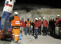 Rescue in San Jose mine, north of Chile, president Sebastian Piñera and bolivian miner just rescued Mario Sepulveda