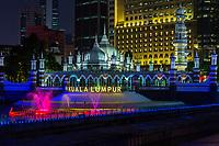 Masjid Jamek (Jamek Mosque) at night, Kuala Lumpur, Malaysia.