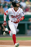 Right fielder Will Dalton (26) of the Greenville Drive in a game against the Greensboro Grasshoppers on Thursday, July 22, 2021, at Fluor Field at the West End in Greenville, South Carolina. (Tom Priddy/Four Seam Images)