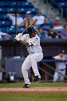 Staten Island Yankees Juan De Leon (43) at bat during a NY-Penn League game against the Aberdeen Ironbirds on August 22, 2019 at Richmond County Bank Ballpark in Staten Island, New York.  Aberdeen defeated Staten Island 4-1 in a rain shortened game.  (Mike Janes/Four Seam Images)