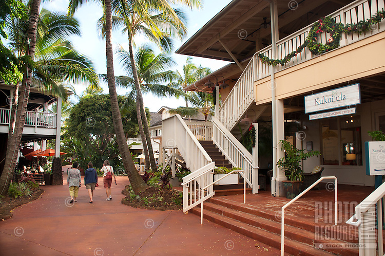 The Shops at Kukui'ula, Poipu, Kauai, has an old-time plantation atmosphere.