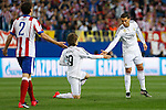 Real Madrid´s Luka Modric and Cristiano Ronaldo during quarterfinal first leg Champions League soccer match at Vicente Calderon stadium in Madrid, Spain. April 14, 2015. (ALTERPHOTOS/Victor Blanco)