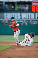 Boston Red Sox second baseman Dustin Pedroia (15), on rehab assignment with the Pawtucket Red Sox, turns a double play as Zack Granite (1) slides into second base during a game against the Rochester Red Wings on May 19, 2018 at Frontier Field in Rochester, New York.  Rochester defeated Pawtucket 2-1.  (Mike Janes/Four Seam Images)