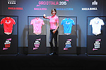The official presentation of the four 2015 Giro d'Italia classification leaders' jerseys. The presentation took place in fantastic scenery of Fortezza da basso.<br /> This year the jerseys have been designed by the Italian brand Lebole and made by Santini Maglificio Sportivo, which will celebrate its 50th anniversary this year.<br /> Cristina Chiabotto, Italian TV presenter and celebrity, has been named as the Giro d'Italia's 2015 Madrina. Florence, Italy. 13th January 2015<br /> Photo: www.newsfile.ie