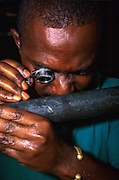 Ivory Coast (Cote d'Ivoire). Geologist examining core for gold.