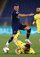Football, Serie A: AS Roma - Hellas Verona Fc, Olympic stadium, Rome, July 15, 2020. <br /> Roma's Jordan Veretout (l) in action with Verona's Alan Empereur (r) during the Italian Serie A football match between Roma and Hellas Verona at Rome's Olympic stadium, on July 15, 2020. <br /> UPDATE IMAGES PRESS/Isabella Bonotto
