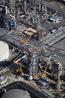 aerial photograph of oil refinery construction, Carson, Los Angeles County, California