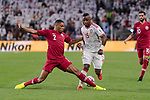 Pedro Correia of Qatar (L) fights for the ball with Ismail Salem Alhammadi of United Arab Emirates (C) during the AFC Asian Cup UAE 2019 Semi Finals match between Qatar (QAT) and United Arab Emirates (UAE) at Mohammed Bin Zaied Stadium  on 29 January 2019 in Abu Dhabi, United Arab Emirates. Photo by Marcio Rodrigo Machado / Power Sport Images