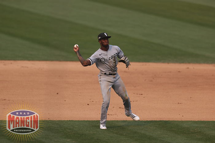 OAKLAND, CA - OCTOBER 1:  Tim Anderson #7 of the Chicago White Sox makes a play at shortstop against the Oakland Athletics during Wild Card Round Game Three at the Oakland Coliseum on Thursday, October 1, 2020 in Oakland, California. (Photo by Brad Mangin)