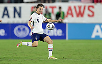 NASHVILLE, TN - SEPTEMBER 5: Brenden Aaronson #11 of the United States chases after a ball during a game between Canada and USMNT at Nissan Stadium on September 5, 2021 in Nashville, Tennessee.