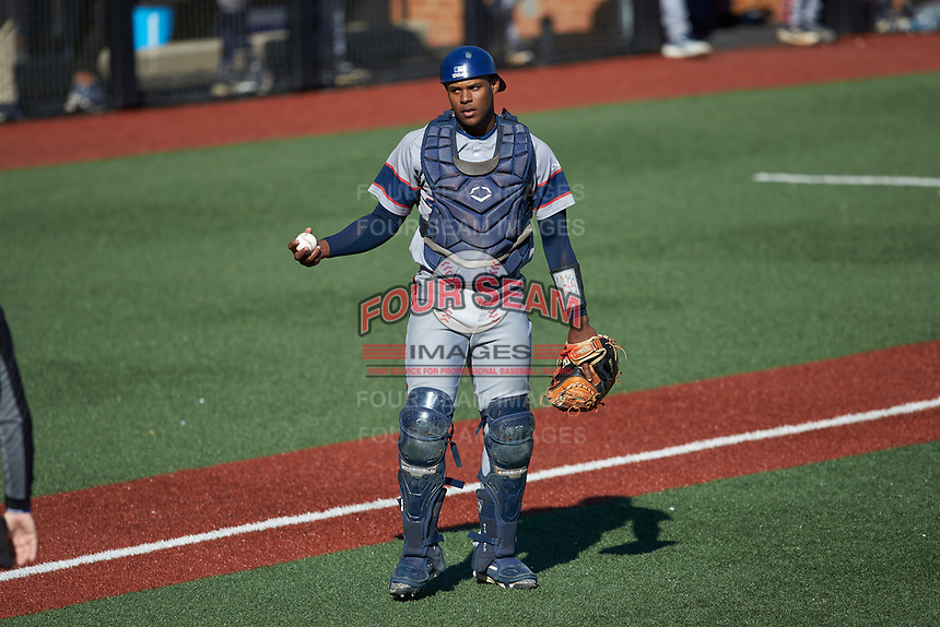 Florida Atlantic Owls catcher Nicholas Toney (33) on defense against the Charlotte 49ers at Hayes Stadium on April 2, 2021 in Charlotte, North Carolina. The 49ers defeated the Owls 9-5. (Brian Westerholt/Four Seam Images)