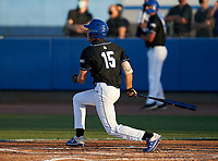 IMG Academy Ascenders Drew Gray (15) bats during a game against the Jesuit Tigers on April 21, 2021 at IMG Academy in Bradenton, Florida.  (Mike Janes/Four Seam Images)