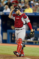 Boston Red Sox catcher Kelly Shoppach #10 during an American League game against the Toronto Blue Jays at Rogers Centre on June 3, 2012 in Toronto, Ontario.  (Mike Janes/Four Seam Images)