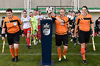 referee Lois Otte entering the pitch with assistant referee Ella De Vries (L)  and Caroline Lanssens (R) pictured during a female soccer game between Eendracht Aalst and SV Zulte Waregem on the seventh matchday of the 2020 - 2021 season of Belgian Scooore Womens Super League , Saturday 14 th of November 2020  in Aalst , Belgium . PHOTO SPORTPIX.BE | SPP | DIRK VUYLSTEKE