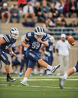 8 October 2016: Middlebury College Panther Kicker Carter Massengill, a Freshman from Summit, NJ, kicks off against the Amherst College Purple & White at Alumni Stadium in Middlebury, Vermont. The Panthers edged out the Purple & While 27-26. Mandatory Credit: Ed Wolfstein Photo *** RAW (NEF) Image File Available ***