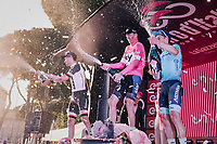 Maglia Rosa / overall winner Chris Froome (GBR/SKY) on the final podium in Rome flanked by Tom Dumoulin (NED/Sunweb) & Miguel Angel Lopez (COL/Astana)<br /> <br /> stage 21: Roma - Roma (115km)<br /> 101th Giro d'Italia 2018