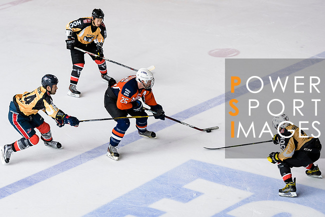 Rob Martini of Singapore Hawkers (C) in action during the Mega Ice Hockey 5s match between Singapore Hawkers and Empire Skate on May 04, 2018 in Hong Kong, Hong Kong. Photo by Marcio Rodrigo Machado / Power Sport Images