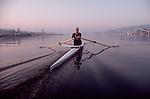 Rowing, Seattle, Male rower in Pocock single racing shell, Lake Union, Washington State, Pacific Northwest, Lake Washington Rowing Club, Chris Martin,
