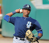 Catcher Jose Bonilla (9) of the Wilmington Blue Rocks, Carolina League affiliate of the Kansas City Royals, prior to a game against the Lynchburg Hillcats on June 15, 2011, at City Stadium in Lynchburg, Va. (Tom Priddy/Four Seam Images)