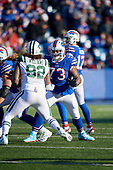 Buffalo Bills tackle Dion Dawkins (73) blocks Leonard Williams (92) during an NFL football game against the New York Jets, Sunday, December 9, 2018, in Orchard Park, N.Y.  (Mike Janes Photography)