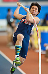 """Francis Scott Key High School pole vaulter Brandon Stearns attempts to clear 13'0"""" during his third place finish in the Pole Vault during the Maryland State Indoor Track and Field Championships at the Prince George's County Sports Complex in Landover, Maryland on February 20, 2012."""