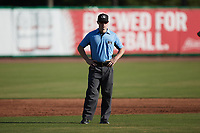 Umpire Lane Cullipher handles the calls on the bases during the game between the Augusta GreenJackets and the Charleston RiverDogs at Joseph P. Riley, Jr. Park on June 27, 2021 in Charleston, South Carolina. (Brian Westerholt/Four Seam Images)