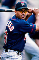 Orlando Merced of the Minnesota Twins plays in a baseball game at Edison International Field during the 1998 season in Anaheim, California. (Larry Goren/Four Seam Images)