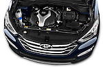 High angle engine detail of a  .2013 Hyundai Santa Fe Sport