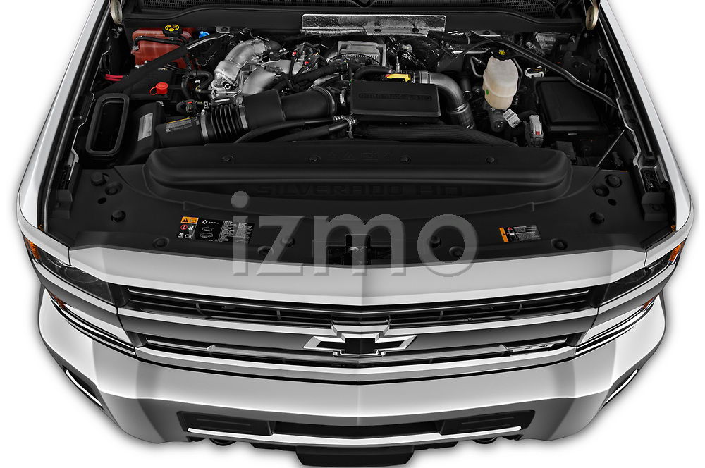 Car Stock 2019 Chevrolet Silverado-2500 LT 4 Door Pick-up Engine  high angle detail view