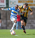 Morton's Fouad Bachirou and East Fife's Ross Brown challenge for the ball.