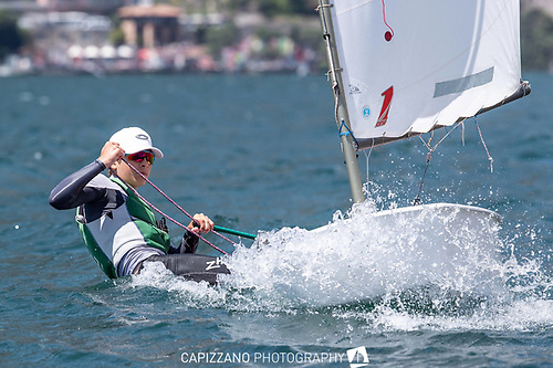 Ireland's Opti star Rocco Wright prefers a breeze, but today on Lake Garda he had to contend with a fading wind in the first two races of the finals for the Worlds 2021