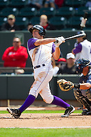 Mark Haddow (21) of the Winston-Salem Dash hits a solo home run in the 3rd inning against the Wilmington Blue Rocks at BB&T Ballpark on April 21, 2013 in Winston-Salem, North Carolina.  The Blue Rocks defeated the Dash 5-3.  (Brian Westerholt/Four Seam Images)